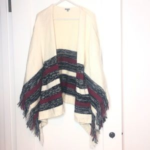 Charlotte Russe Knit Open Sweater Fringe Striped